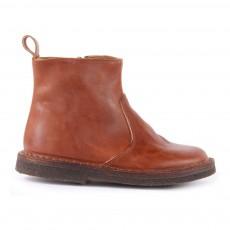 Boots Zippées Cuir Camel
