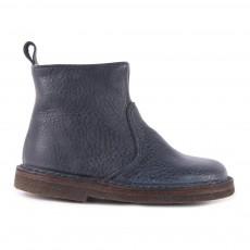 Boots Zippées Cuir Bleu marine