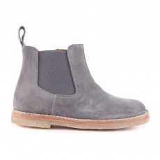 Boots Chelsea Zippées Suède Gris