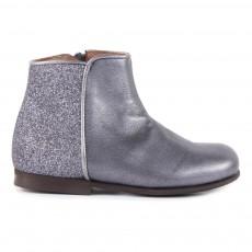 Boots Zippées Cuir et Paillettes Gris anthracite