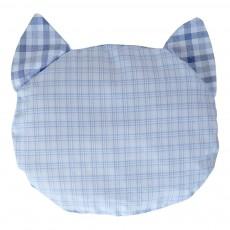 Bouillote carreaux en forme de chat Bleu gris