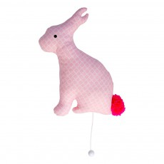 Lapin motifs coussin musical Rose