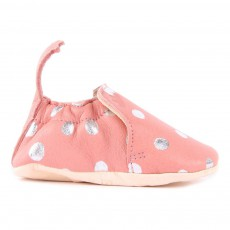 Chaussons Cuir Pois Blumoo Rose