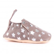 Chaussons Cuir Etoiles Blumoo Gris