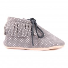 Chaussons Suède Pois Franges Meximoo Gris anthracite