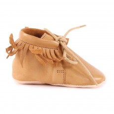 Chaussons Cuir Franges Meximoo Camel