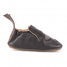 Chaussons Cuir Etoile Blublu Gris anthracite