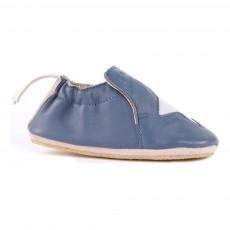 Chaussons Cuir Blublu Etoile Bleu marine