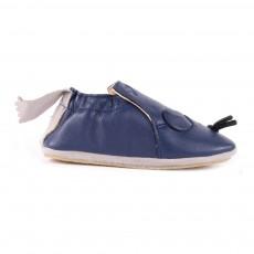 Chaussons Cuir Souris Blublu Bleu marine