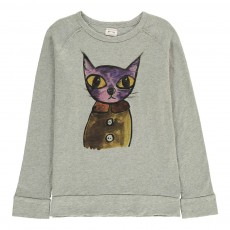 T-Shirt Chat Cheetah Gris chiné clair