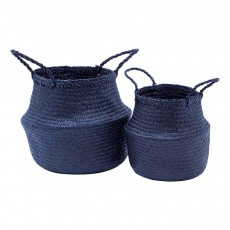 Paniers en paille - Set de 2 Bleu marine