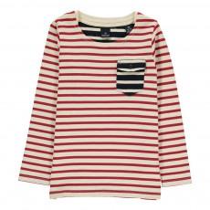 T-shirt Marinière Poche Contrastée Rouge