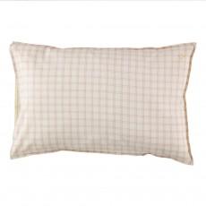 Taie d'oreiller à carreaux 75x50 cm - Ivoire