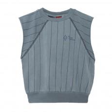 Sweat Rayé Délavé Sans Manches Hippos Bleu gris