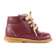 Chaussures Premiers Pas Cuir à Lacets Creek Bordeaux