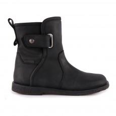 Boots Cuir Fourrées Tex Velcro Gobi Noir