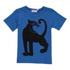 T-Shirt Panthère Coton Bio Bleu roi