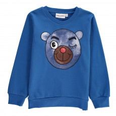 Sweat Ourson Coton Bio Bleu roi