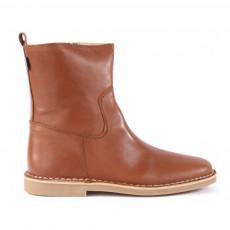 Boots Cuir Zippées Camel