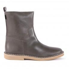 Boots Cuir Zippées Gris anthracite