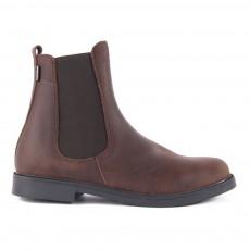 Boots Chelsea Zippées Cuir Marron