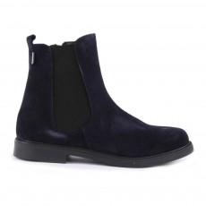 Boots Chelsea Zippées Suède Bleu marine