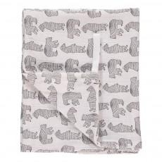 Lange-plaid 120x120 cm en gaze de coton motif ours Blanc