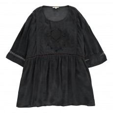 Robe Cupro Broderies Louison - Collection Ado et Femme - Gris anthracite