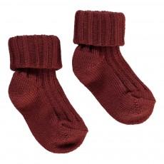 Chaussettes Côtelées Bébé Rouge brique