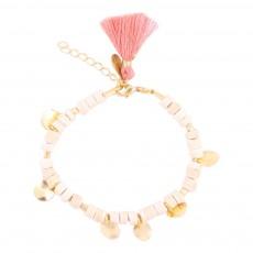 Bracelet Perles Pompon Hanoi - Collection Ado et Femme - Beige