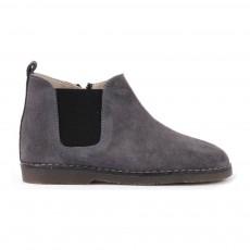 Boots Suède Chelsea Zippées Gris anthracite