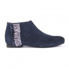 Boots Suède Zippées Franges Ingrid Bleu marine