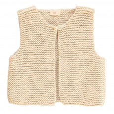 Gilet Sans Manches Point Mousse Ecru