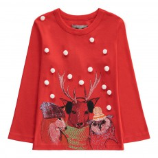 T-Shirt Pompons Animaux Tom Rouge