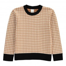 Pull à Carreaux Beige
