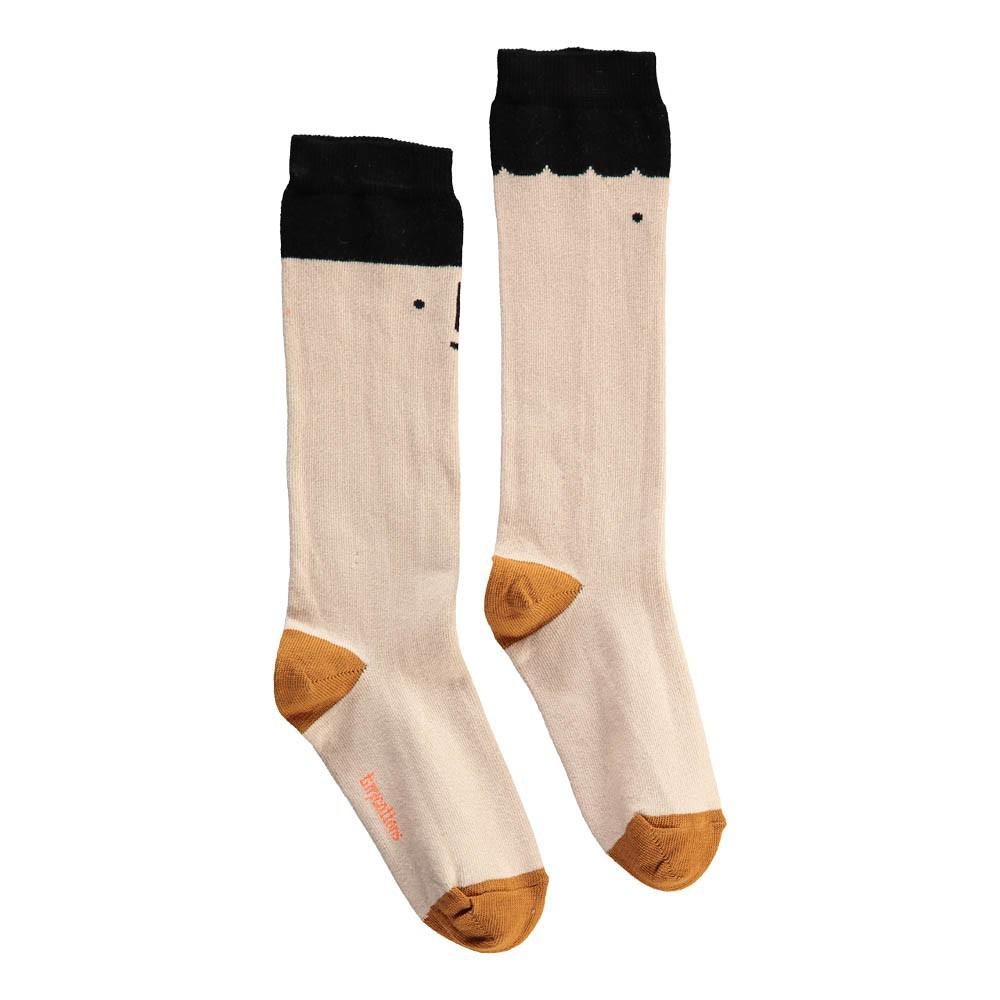 chaussettes hautes big face noire ecru tinycottons mode. Black Bedroom Furniture Sets. Home Design Ideas