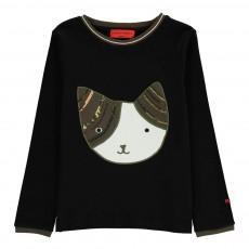 T-shirt Chat Sequins Noir
