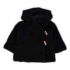 Manteau Cache-Cœur Façon Fourrure Erna Noir