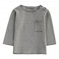 T-Shirt Rayé Bru Bleu ciel