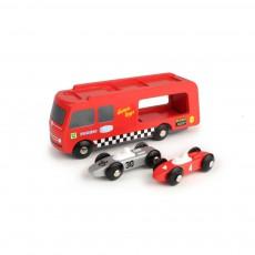 Transporteur de voitures de courses et voitures Rouge