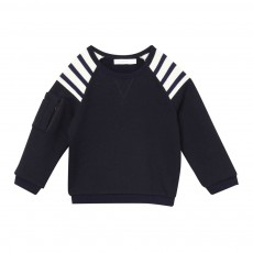 Sweatshirt Epaules Rayées Bleu marine