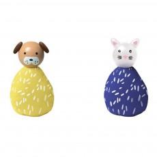 Set de 2 animaux chien et chat Multicolore