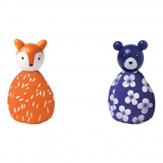 Set de 2 animaux renard et ours Multicolore