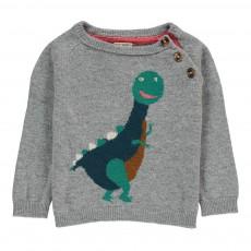 Pull Laine et Cachemire Dinosaure Gris
