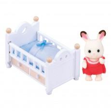 Bébé lapin Chocolat et Lit Multicolore