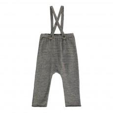 Pantalon Molleton Bretelles Gris chiné