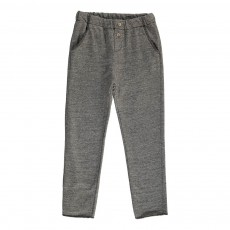 Pantalon Molleton Boutons Gris chiné