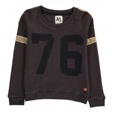 "Sweat ""76"" Détails Paillettes Gris anthracite"