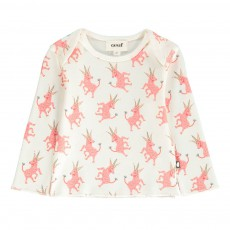 T-Shirt Licornes Coton Pima Bio Blanc