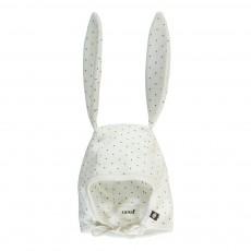 Bonnet Lapin Pois Coton Pima Bio Blanc